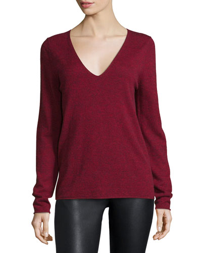 Melange V-Neck Pullover Sweater, Red Top Reviews