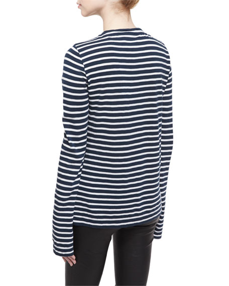 Long-Sleeve Striped Jersey Tee, Blanc/Mar