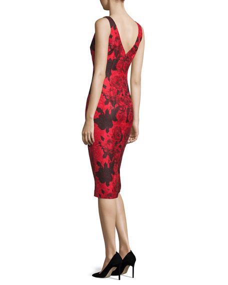 Sleeveless Jacquard Cocktail Dress, Red/Black