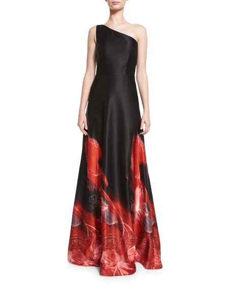 David Meister One-Shoulder Ombre Ball Gown, Black/Red | Neiman Marcus