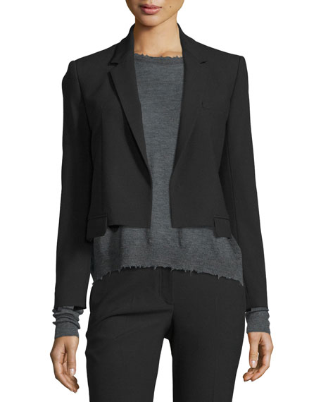 Helmut Lang Cropped Shrunken Crepe Jacket, Distressed Slub-Knit