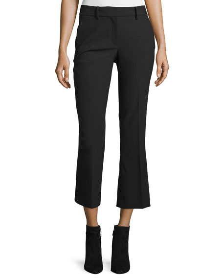 Helmut Lang Cropped Flare Wool-Blend Pants, Black