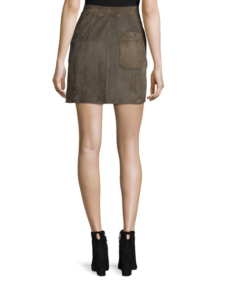 Suede High-Rise Mini Skirt, Marsh