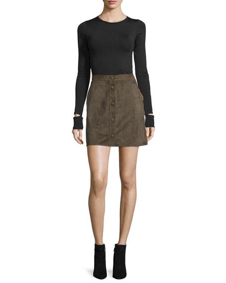 Suede High-Rise Mini Skirt, Marsh