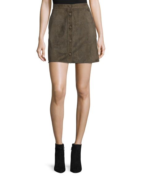 Helmut Lang Suede High-Rise Mini Skirt, Marsh