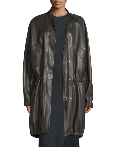 Helmut Lang Leather Zip-Front Parka, Dark Canopy