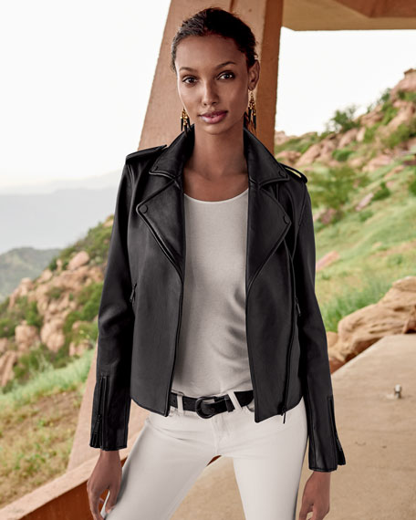 New Leather Moto Jacket w/ Black Hardware