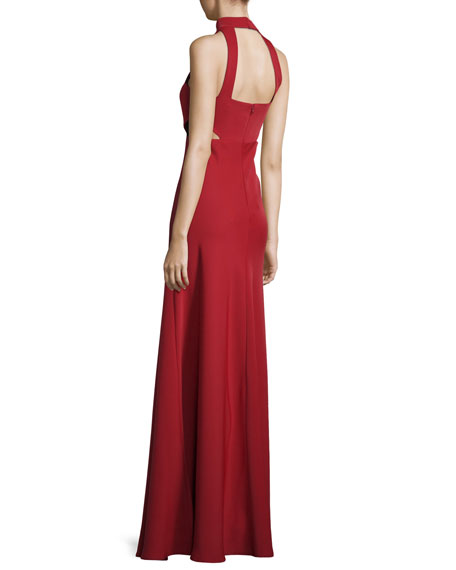 Sleeveless Cutout Georgette Gown, Redwood