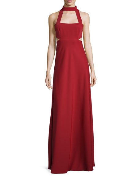 Jill Jill Stuart Sleeveless Cutout Georgette Gown, Redwood