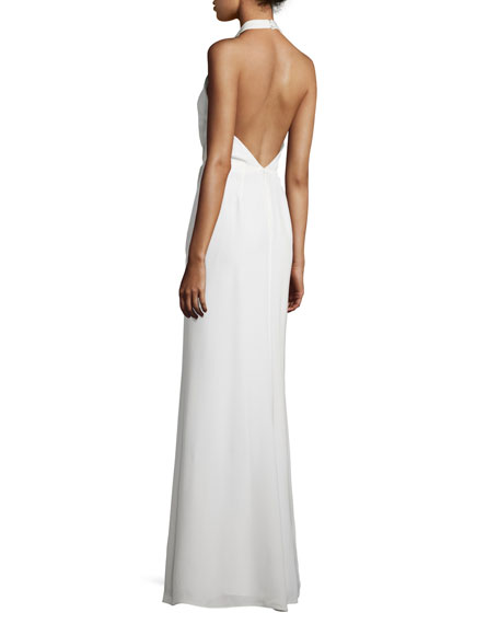 Sleeveless Pleated Chiffon Halter Gown, Off White