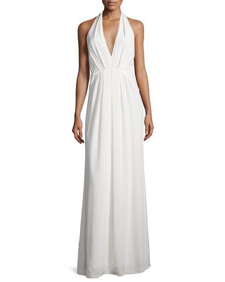 Jill Jill Stuart Sleeveless Pleated Chiffon Halter Gown,