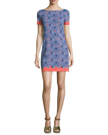 Tory Burch Elisabeth Short-Sleeve Printed Sheath Dress, Sea Coral Artemis