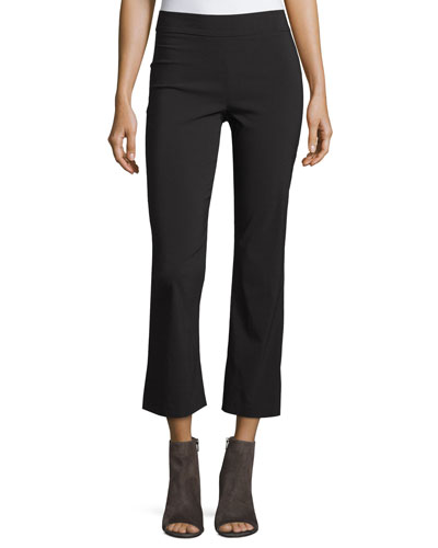 Leo Cropped Flare-Leg Pants, Black