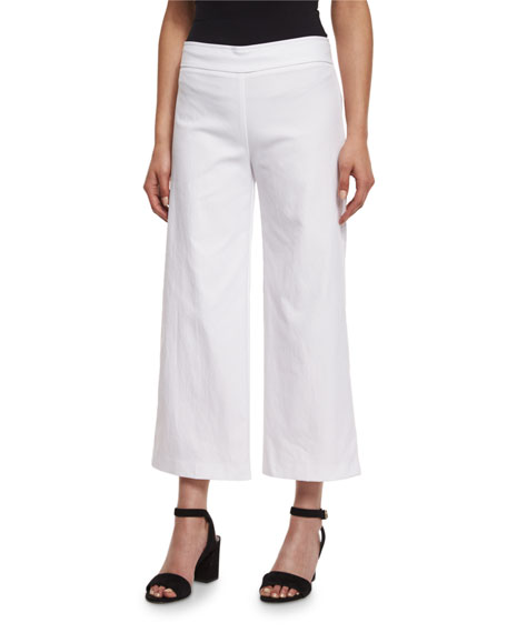 Avenue Montaigne Alex Wide-Leg Crop Pants, White
