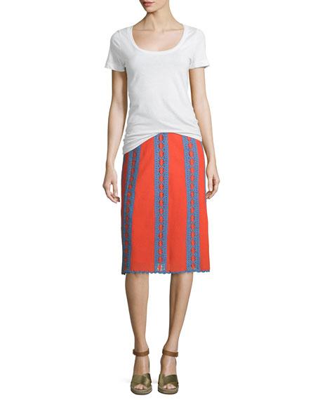 Trista Crochet-Striped Midi Skirt, Poppy Red