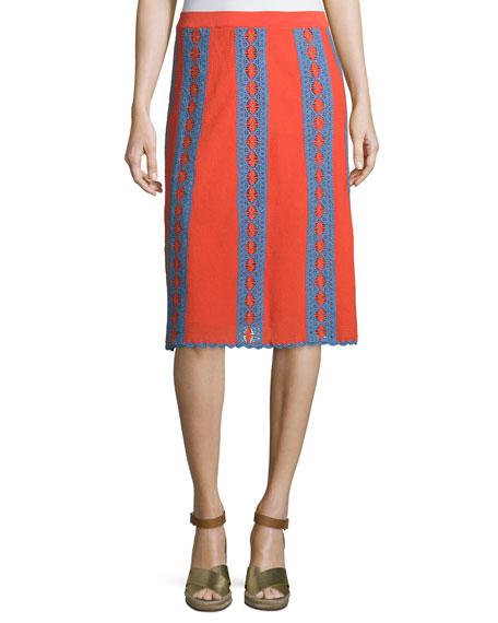 Tory Burch Trista Crochet-Striped Midi Skirt, Poppy Red