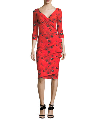3/4-Sleeve Floral Tie-Dye Cocktail Dress, Winter Blossom Red