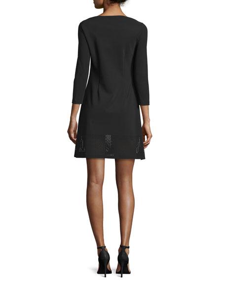 3/4-Sleeve Mesh-Trim Ponte Cocktail Dress