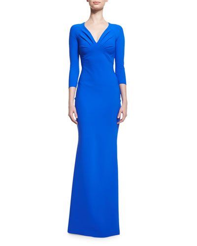 3/4-Sleeve Ruched Ponte Gown, Blue Klein