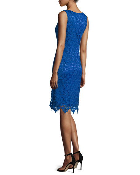 Lace Sleeveless Sheath Dress, Cobalt
