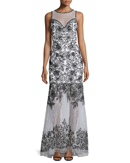 Sue WongSleeveless Embroidered Gown W/ Sheer Detail, White/Black