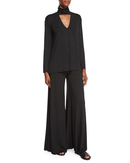 Wide-Leg Jersey Trousers, Black
