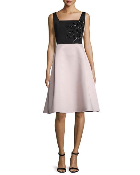 Rickie Freeman for Teri Jon Bicolor Faille Full-Skirt Cocktail Dress