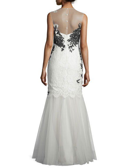 Sleeveless Illusion Lace Applique Mermaid Gown