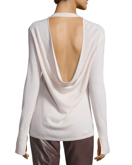 Long-Sleeve Cowl-Back Cashmere Sweater Best Reviews