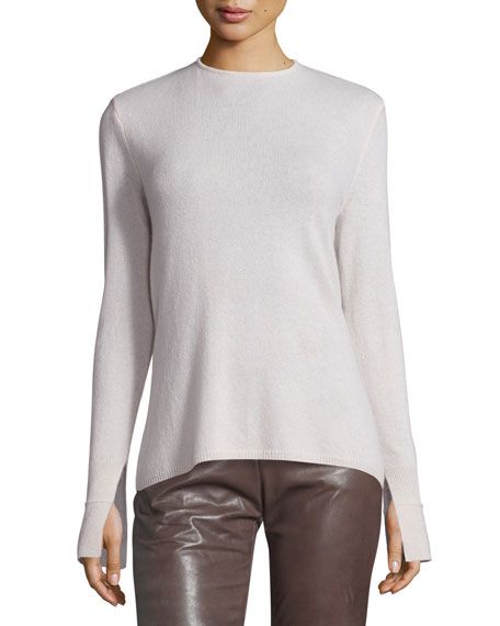 Halston Heritage Long-Sleeve Cowl-Back Cashmere Sweater