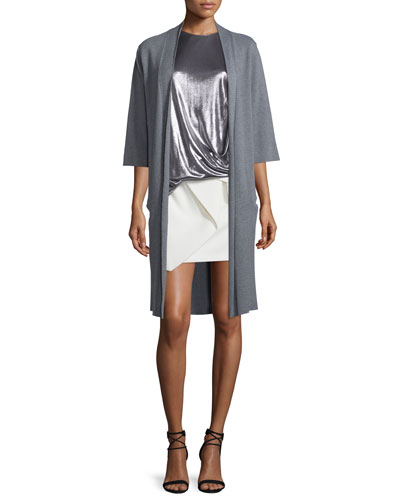 Long Tie-Front Kimono Cardigan, Heather Gray