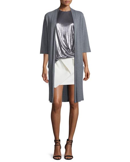 Halston Heritage Long Tie-Front Kimono Cardigan, Heather Gray