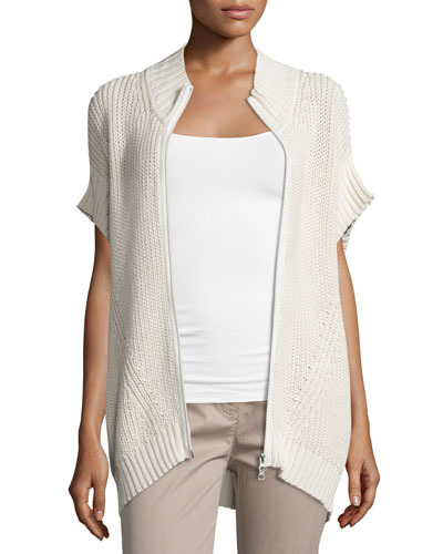 Katherine Zip-Front Sweater Poncho, Cream