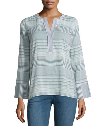 Long-Sleeve Split-Neck Striped Tunic, Champion Navy