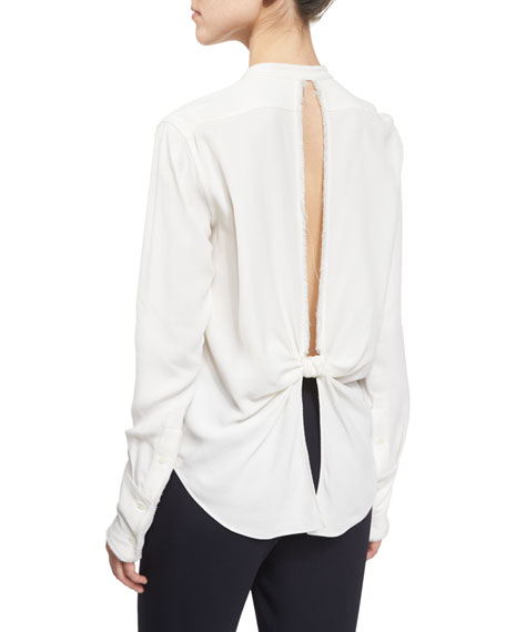 Helmut Lang Back-Knot Frayed Crepe Top, White