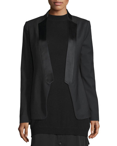 Long Slim Tuxedo Jacket w/ Satin Lapel, Black