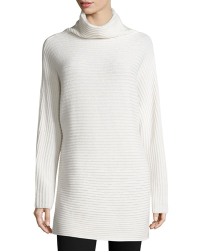 Long-Sleeve Mock-Neck Ribbed Wool Sweater, Chalk