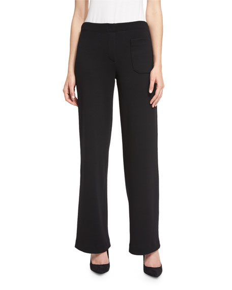 Helmut Lang Wool Wide-Leg Pants, Black