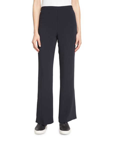 Helmut Lang Stretch Crepe Flare Pants, Navy