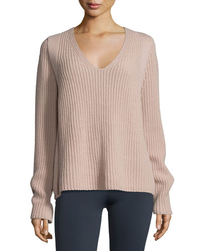 Ribbed V-Neck Pullover Sweater, Dust