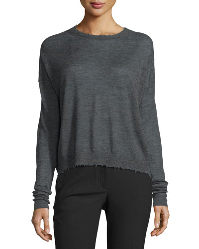 Distressed Slub-Knit Cashmere Sweater, Charcoal