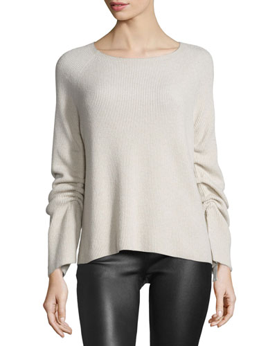 Ribbed Ruched-Sleeve Sweater, Shell