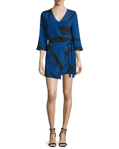 3/4-Sleeve Graphic Two-Tone Mini Dress, Ultramarine Abstract
