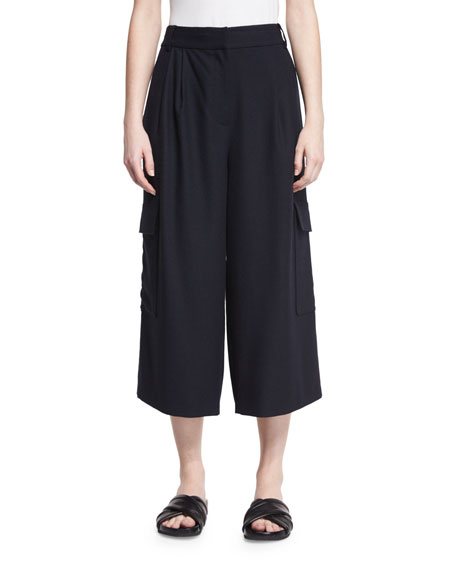 Tibi Owen Cropped Twill Wide-Leg Pants, Navy