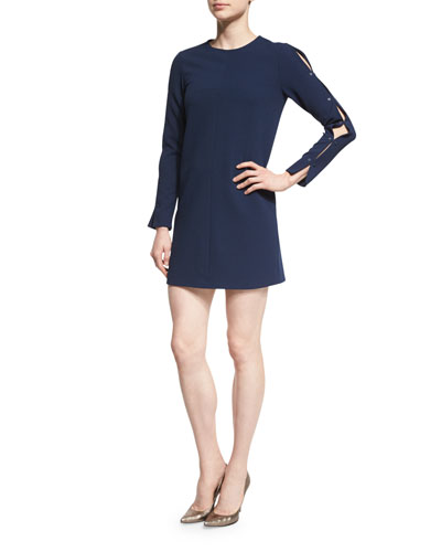 Long-Sleeve Structured Crepe Shift Dress, Midnight Navy