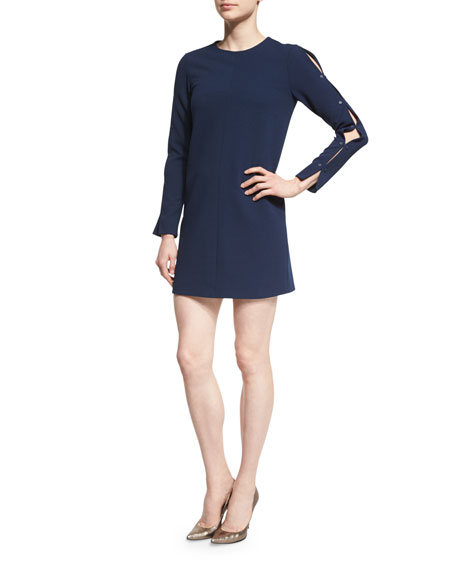 Tibi Long-Sleeve Structured Crepe Shift Dress, Midnight Navy