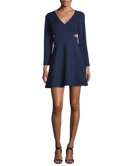 Halston Heritage Long-Sleeve V-Neck Dress W/Cutouts, Midnight