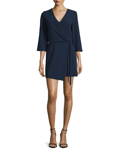 3/4-Sleeve V-Neck Mini Dress, Navy