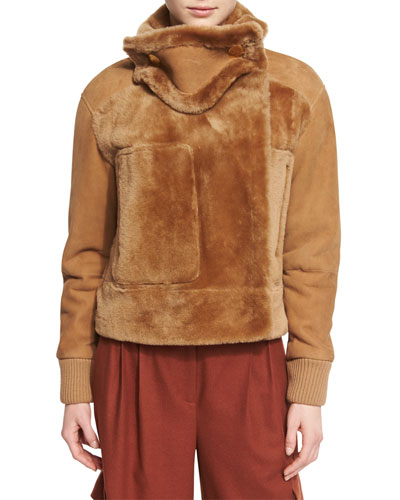 Shearling Aviator Jacket, Brown