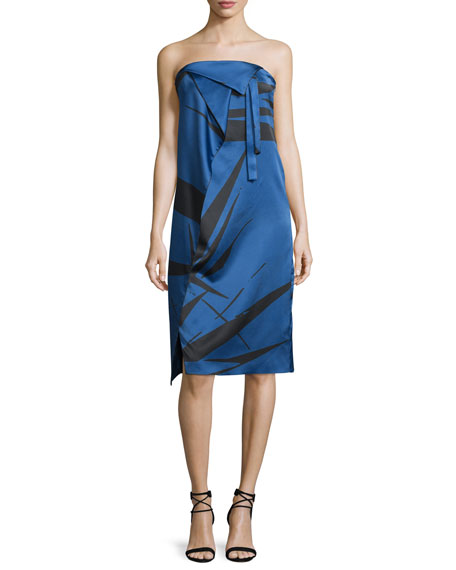 Halston Heritage Strapless Graphic Charmeuse Dress w/ Fold